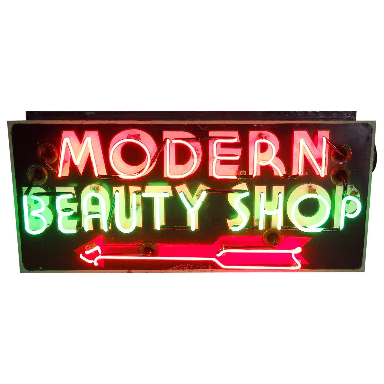 Magenta With Green Neon Modern Beauty Shop Sign 1