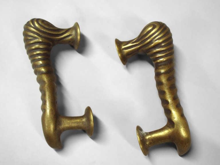 Cast Pair Brass Bronze Door Pulls For Sale