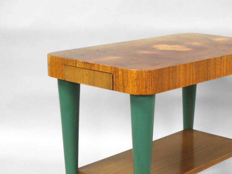 American Pair of Art Deco Moderne Burl Top Side Tables by Gilbert Rohde For Sale