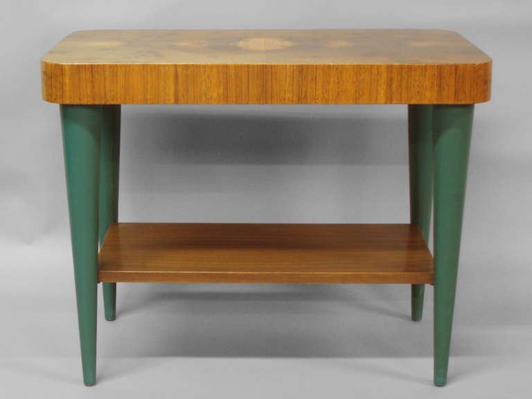 Lacquered Pair of Art Deco Moderne Burl Top Side Tables by Gilbert Rohde For Sale