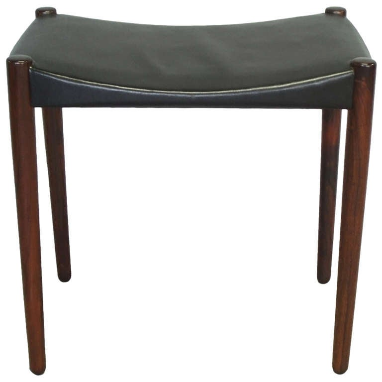 Rosewood and Leather Stool by Ejner Larsen and A. Bender Madsen for Willy Beck