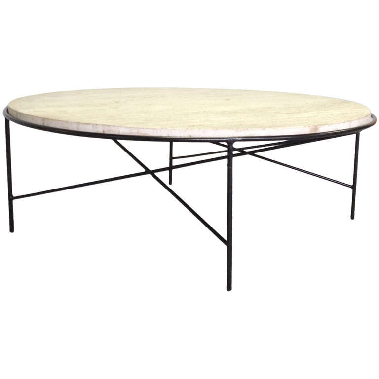 Rare wrought iron base travertine coffee table by paul for Wrought iron cocktail table bases