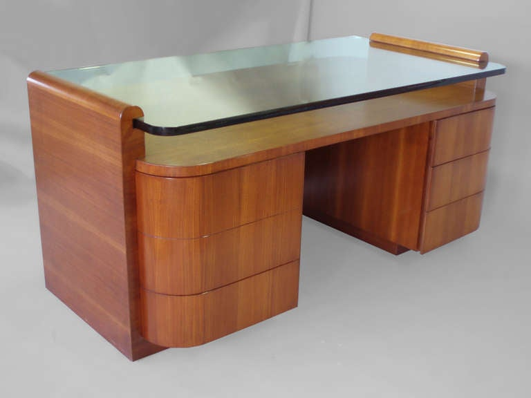 Wood Desk With Glass Top Part - 36: Large Custom-Made Glass Top Executive Desk 2