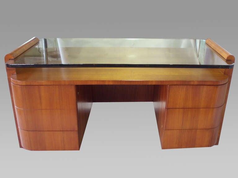 Large Custom Made Glass Top Executive Desk At 1stdibs