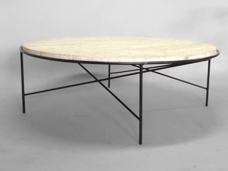 Rare Wrought Iron Base Travertine Coffee Table By Paul Mccobb For Arbuck