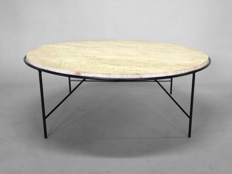 Rare wrought iron base travertine coffee table by paul mccobb at 1stdibs Wrought iron coffee table bases