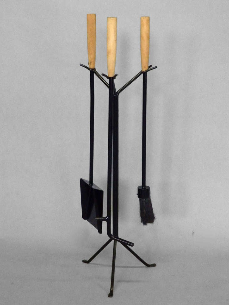 Wrought Iron With Wood Handle Modernist Fire Tools By George Nelson At 1stdibs