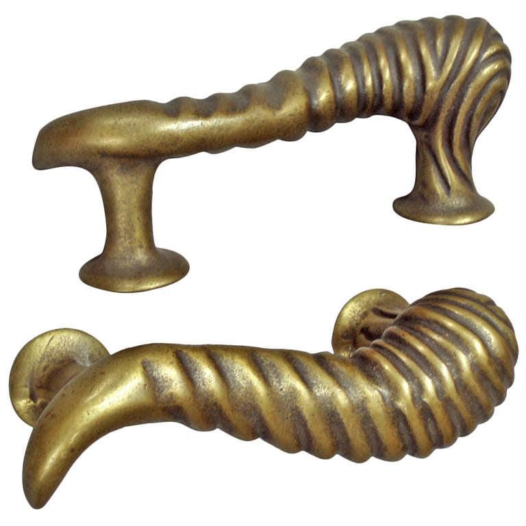 Pair Brass Bronze Door Pulls For Sale