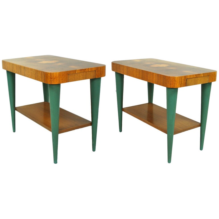 Pair of Art Deco Moderne Burl Top Side Tables by Gilbert Rohde For Sale
