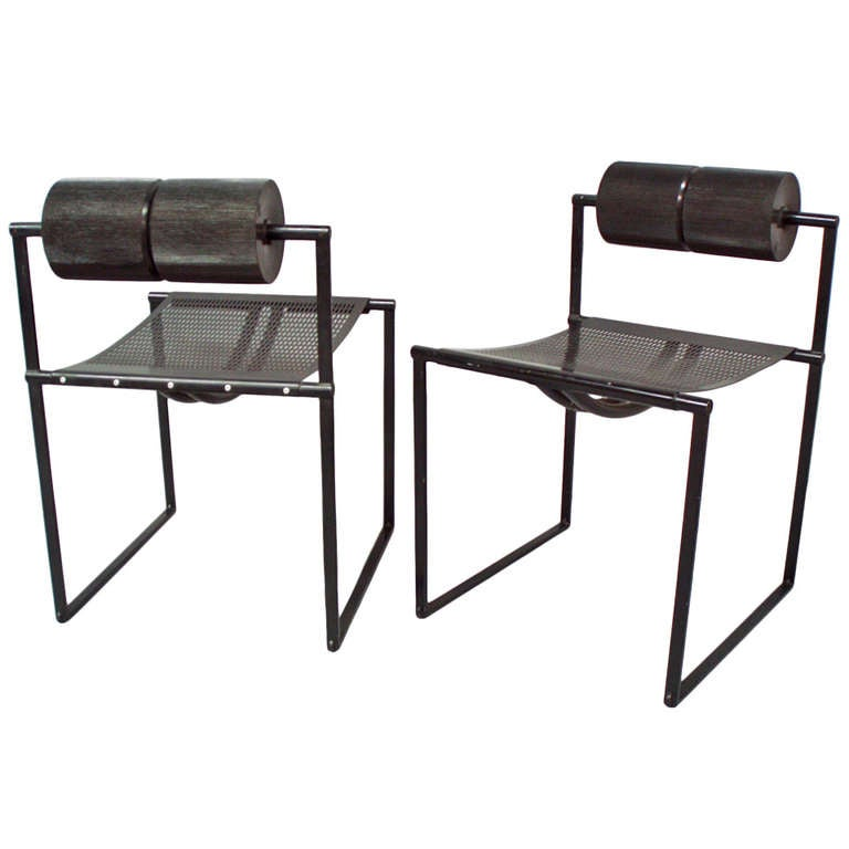Pair of architect post modern seconda chairs by mario for Post modern chair
