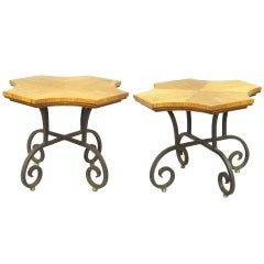Pair of Wrought Iron Base Spanish Villa Tables by Heritage Henredon