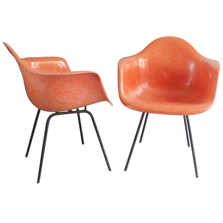 Pair salmon toned fiberglass bucket chairs by charles eames at 1stdibs - Herman miller bucket chair ...