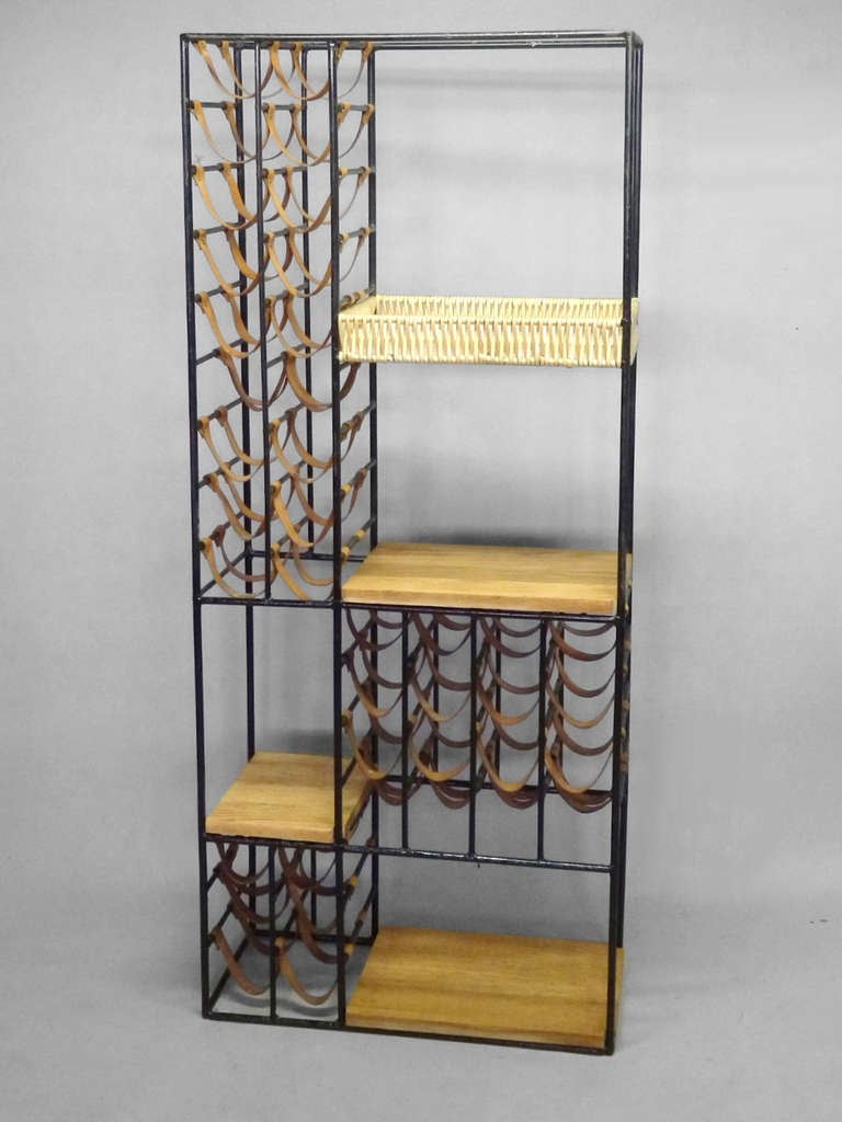 wrought iron leather with oak etagere wine rack at 1stdibs. Black Bedroom Furniture Sets. Home Design Ideas