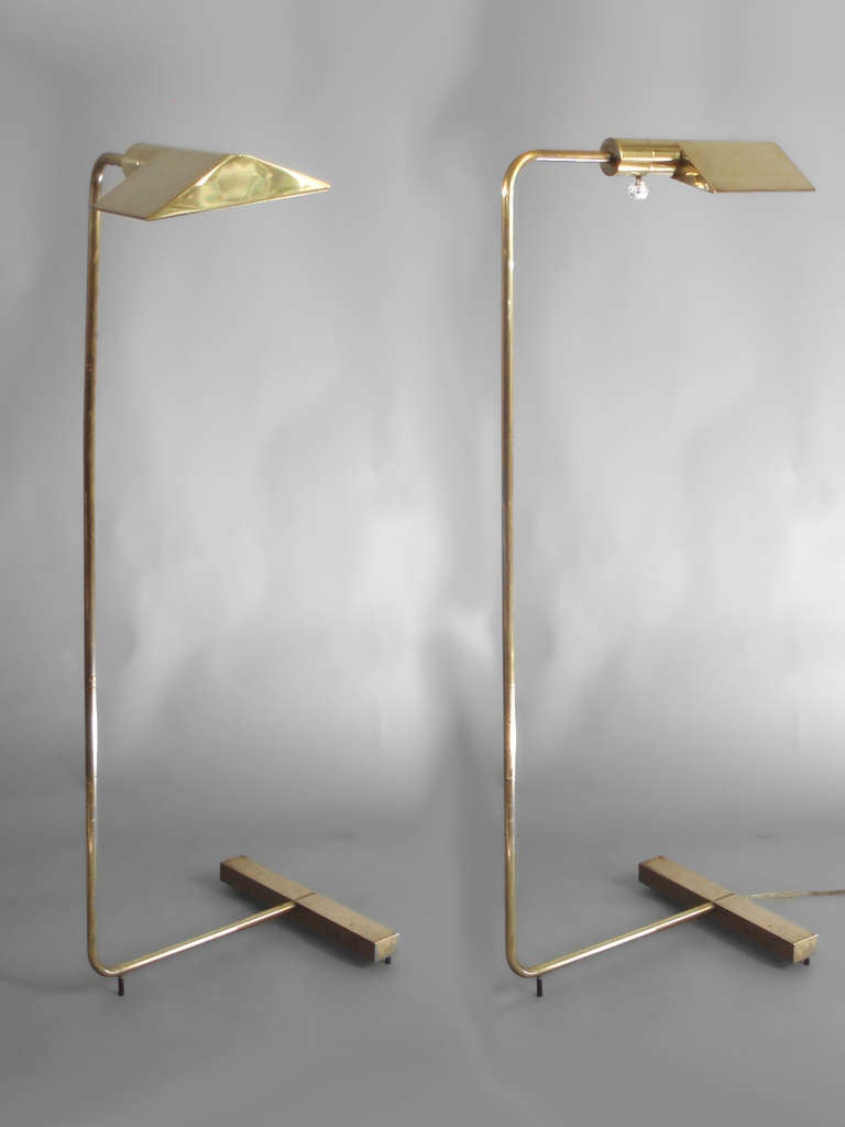 Pair Of Adjustable Brass Reading Lamps By Cedric Hartman 2