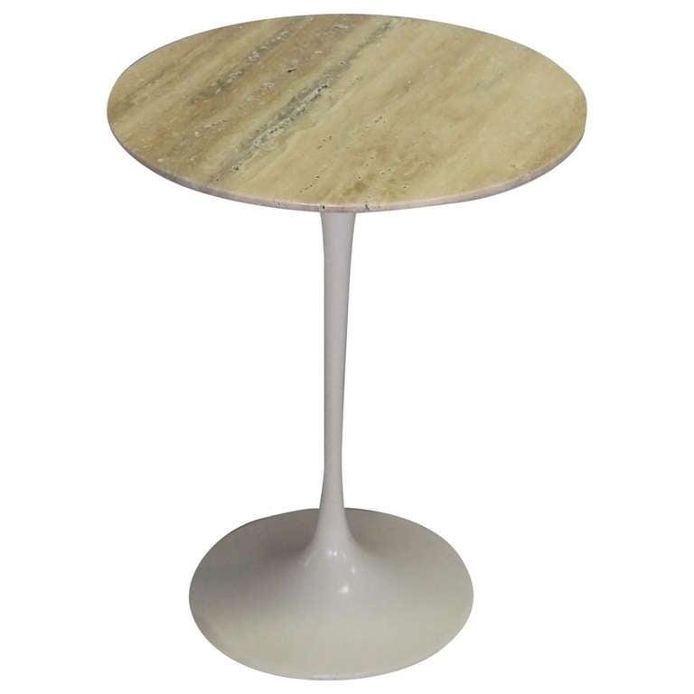 Early Cast Iron Saarinen Tulip Side Table with Custom Travertine Top ...