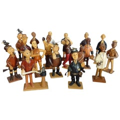 Collection of Whimsical Carved Wood Village People