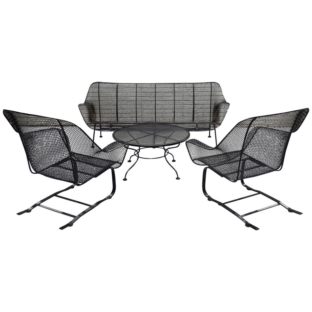 Four-Piece Suite of Woodard Wrought Iron Outdoor Garden Furniture 1