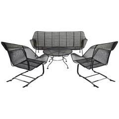 Four-Piece Suite of Woodard Wrought Iron Outdoor Garden Furniture