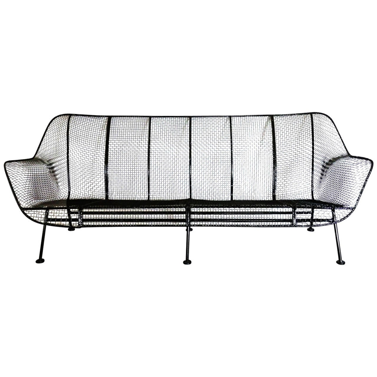 Woodard Wrought Iron with Mesh Outdoor Garden Couch at 1stdibs