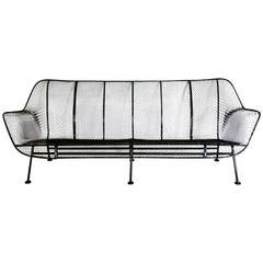 Woodard Wrought Iron with Mesh Outdoor Garden Couch