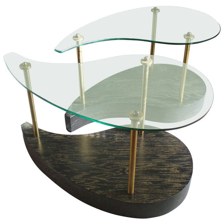 Pair Of Organic Comma Form Glass Top Cerused Oak Side Tables At 1stdibs