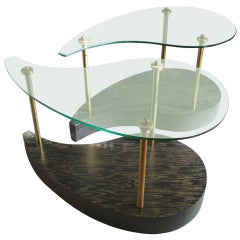 Pair of Organic teardrop Form Glass Top Oak Side Tables