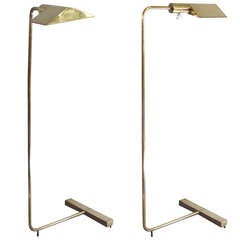Pair of Adjustable Brass Reading Lamps by Cedric Hartman