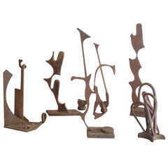 Collection of Naive Art Modernist Iron Garden Sculptures