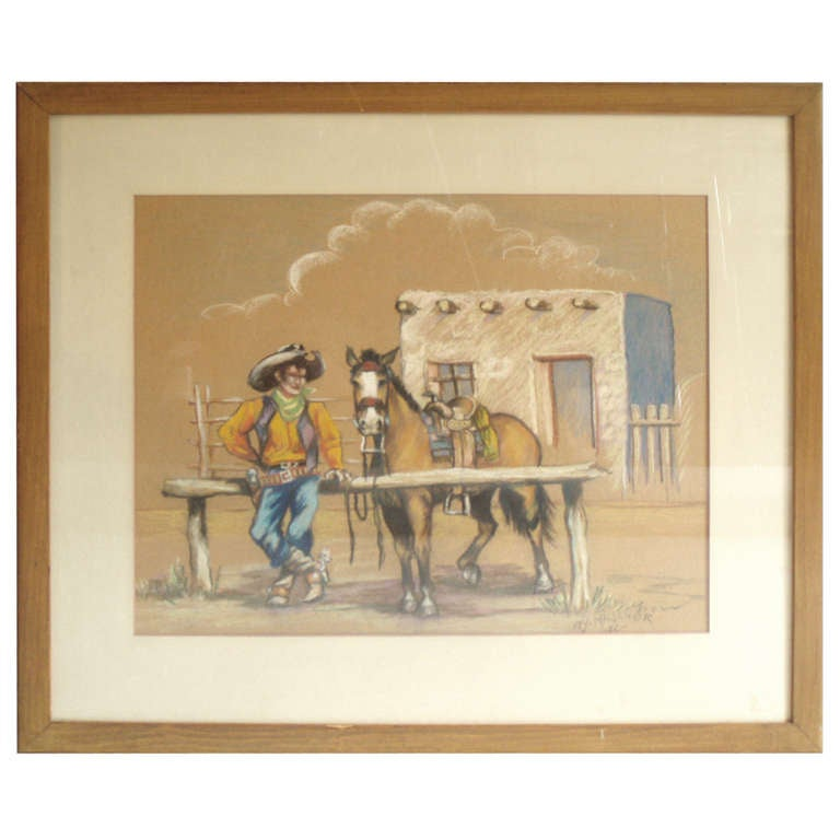 Western Theme Pastel Drawing Signed WJ Madcher '42
