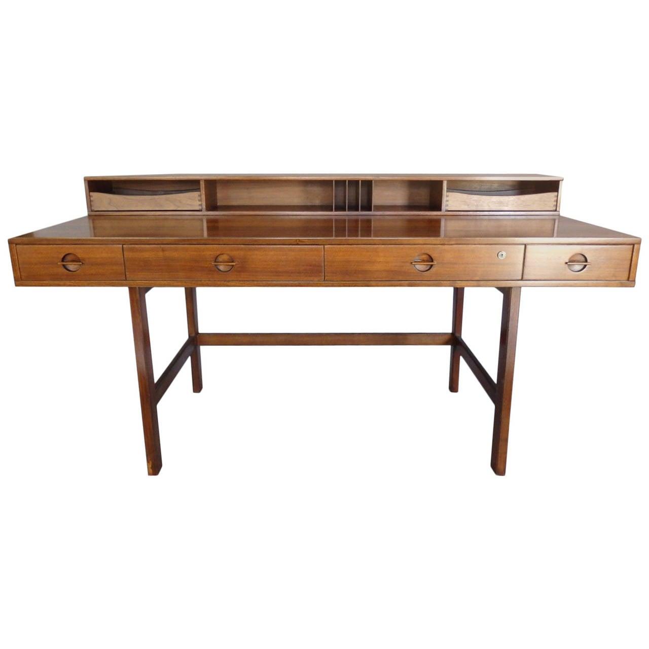 Peter lovig nielson nicely grained walnut flip top desk at for Flip top computer desk