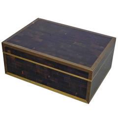Gentleman's Dresser Top with Brass Trim Tessellated Box