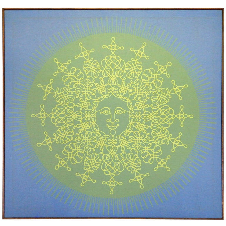 Large Silkscreen of Happy Sun on Canvas by Tom Tru