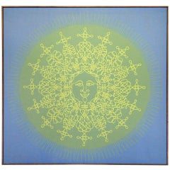 Large Silkscreen of Happy Sun on Canvas by Tom Tru