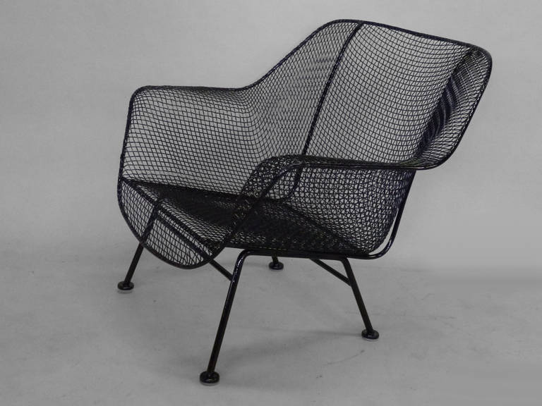 Pair of Woodard Wrought Iron with Steel Mesh Lounge Chairs