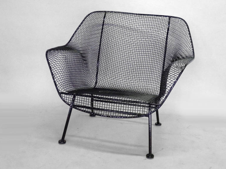 Pair of Woodard Wrought Iron with Steel Mesh Lounge Chairs at 1stdibs