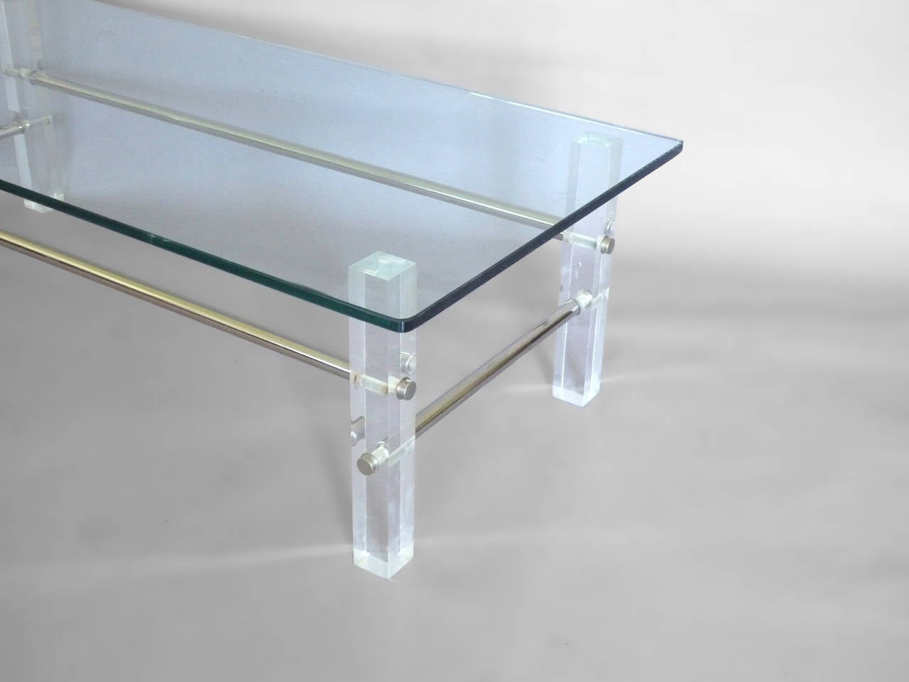 Architecturally Styled Glass Top Lucite With Chrome Coffee Table At 1stdibs