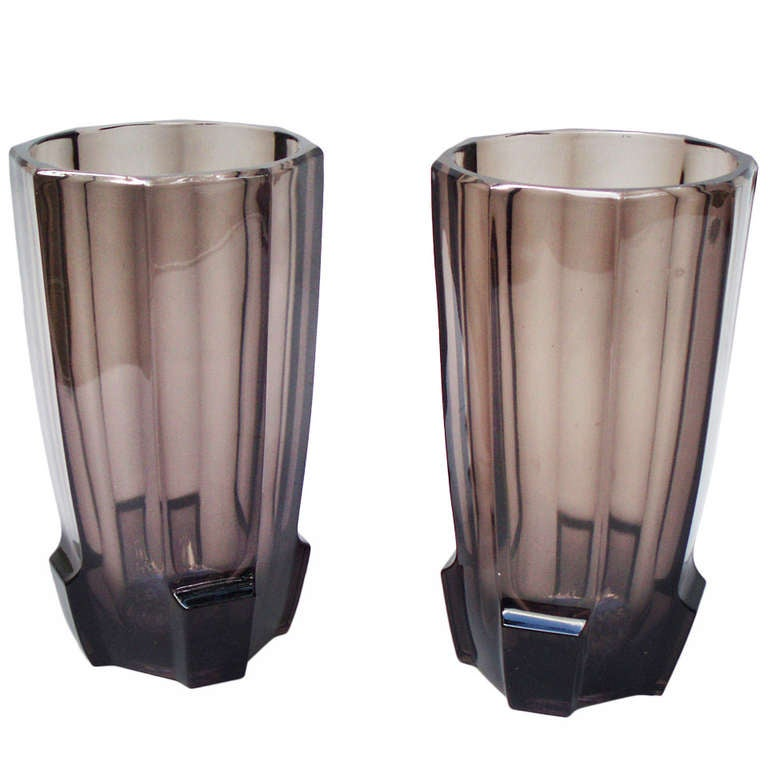 Pair of art deco glass vases attributed to koloman moser at 1stdibs - Deco glace ...
