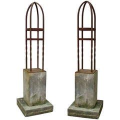 Pair of Wrought Iron Garden Finial Sculptures on Limestone Base