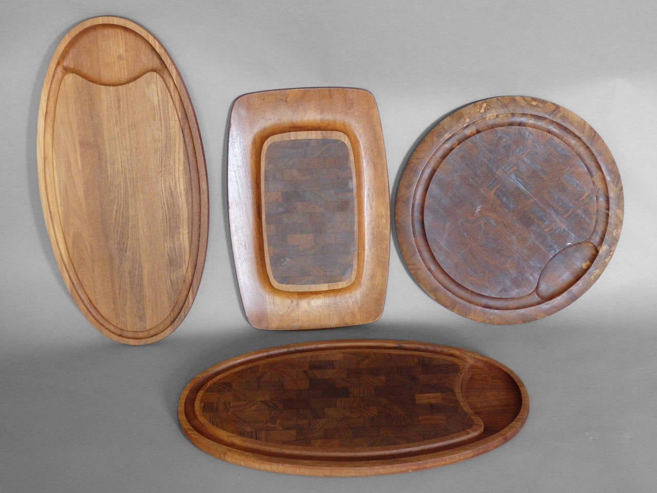Danish Collection of Dansk Teak Rosewood Cutting Board Trays For Sale