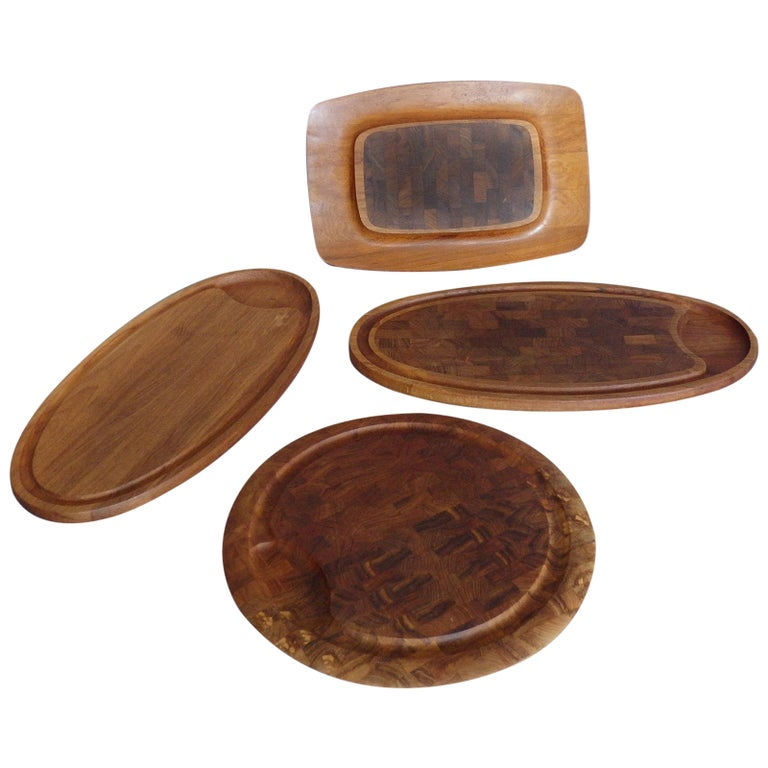 Collection of Dansk Teak Rosewood Cutting Board Trays For Sale