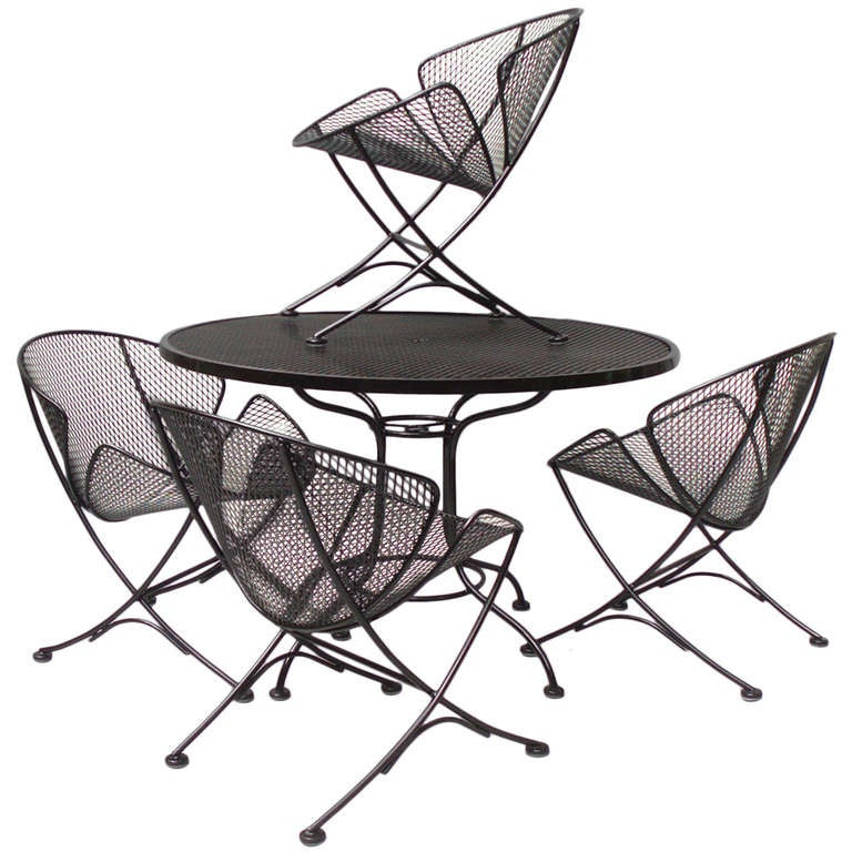 jet age wrought iron table with four chairs by russel lee fiberglass patio furniture cushions' Homecrest Fiberglass Patio Furniture