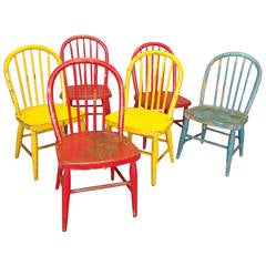 Six Detroit School Painted Child's Windsor Chairs