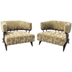 Pair of Mohair Covered Mahogany Moderne Lounge Chairs