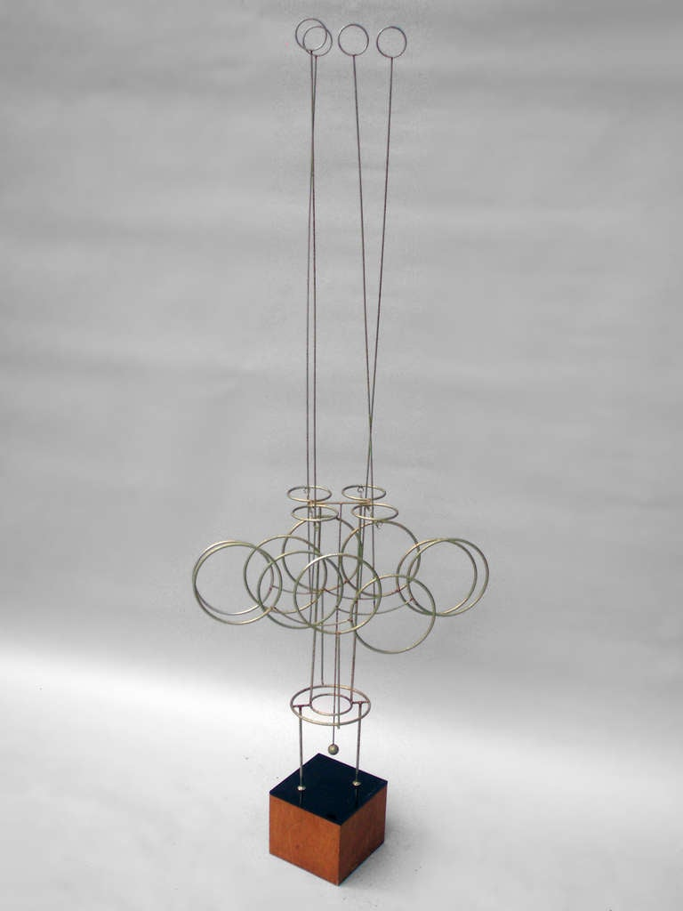 Large Kinetic Wire Sculpture by Joseph Burlini, Signed and Marked 1974