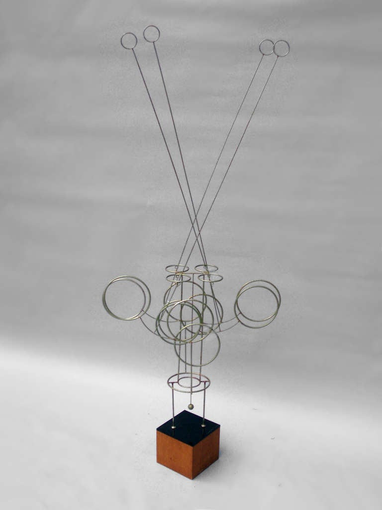 American Large Kinetic Wire Sculpture by Joseph Burlini For Sale