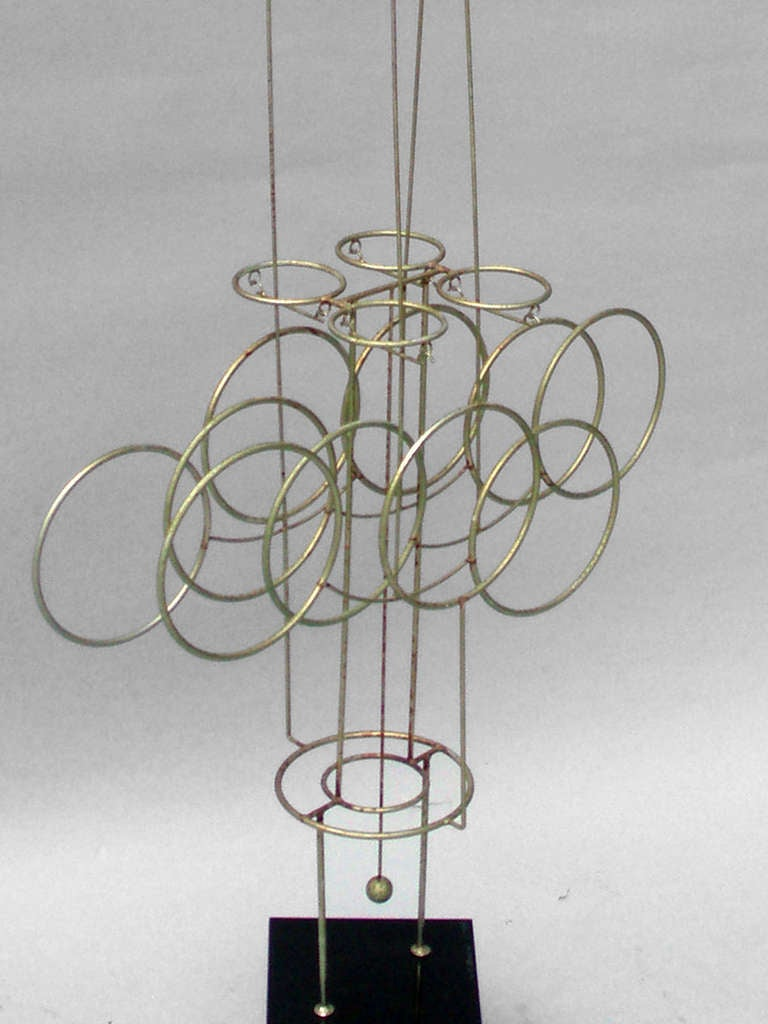 Large Kinetic Wire Sculpture by Joseph Burlini In Good Condition For Sale In Ferndale, MI
