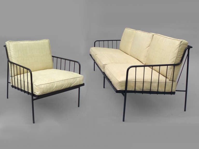 Rare wrought iron couch with matching chair by george for Matching living room furniture sets