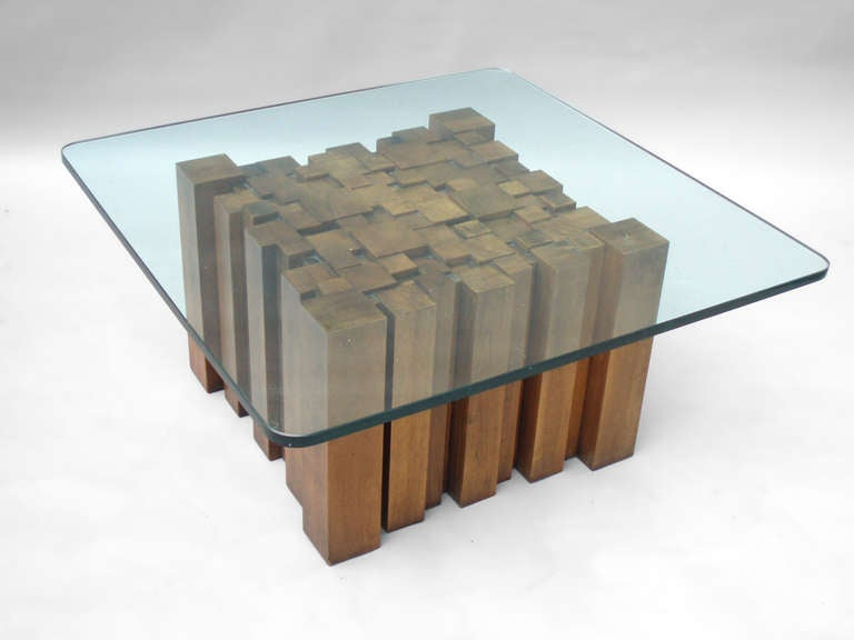 Stacked wood glass top coffee table in the style of paul evans image 3