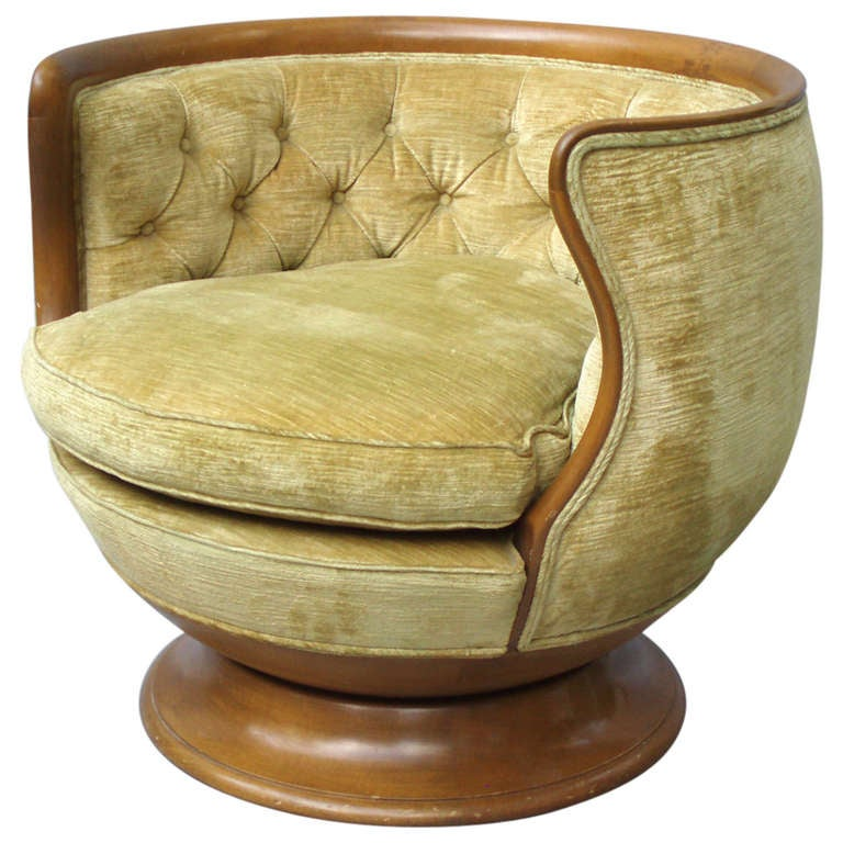 Walnut Trim Button Tufted Swivel Barrel Chair at 1stdibs