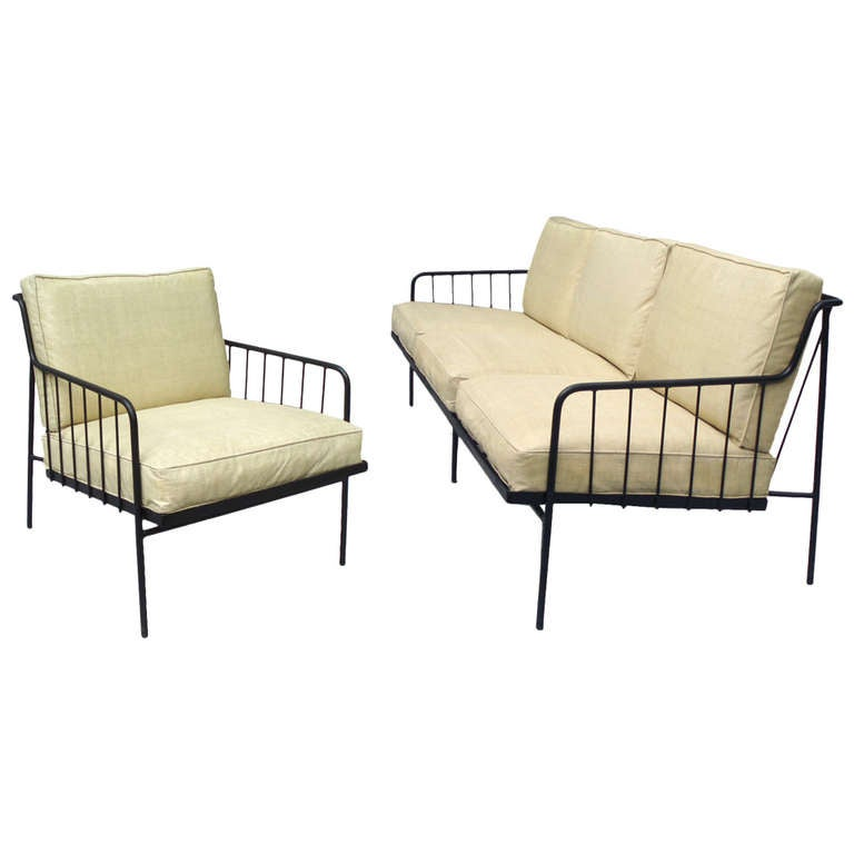 Rare Wrought Iron Couch With Matching Chair By George Nelson At 1stdibs